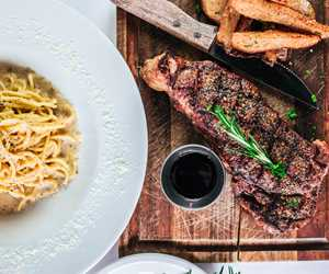 Grilled steak with pasta carbonara
